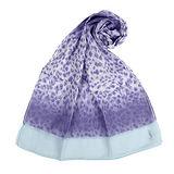 YSL 法式漸層豹紋薄棉抗UV圍巾-淺紫色
