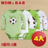 (購物車)【MOM AND BAB】刺蝟足球長袖肩扣包屁衣(禮盒四件組)(3M-24M)