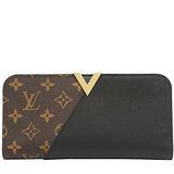 Louis Vuitton LV M56175 Kimono 經典花紋小牛皮拼接扣式長夾.黑 預購