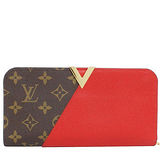 Louis Vuitton LV M56174 Kimono 經典花紋小牛皮拼接扣式長夾.紅 預購