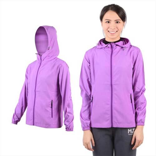 (女) SOFO 防風外套-風衣 連帽 抗UV 可收納 粉紫