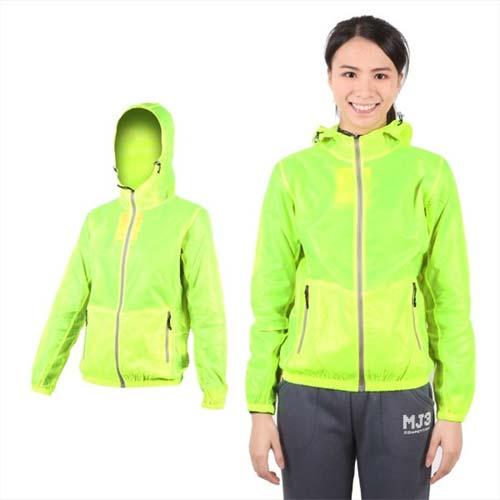 (女) SOFO 果凍連帽外套-抗UV 風衣 可收納 螢光綠