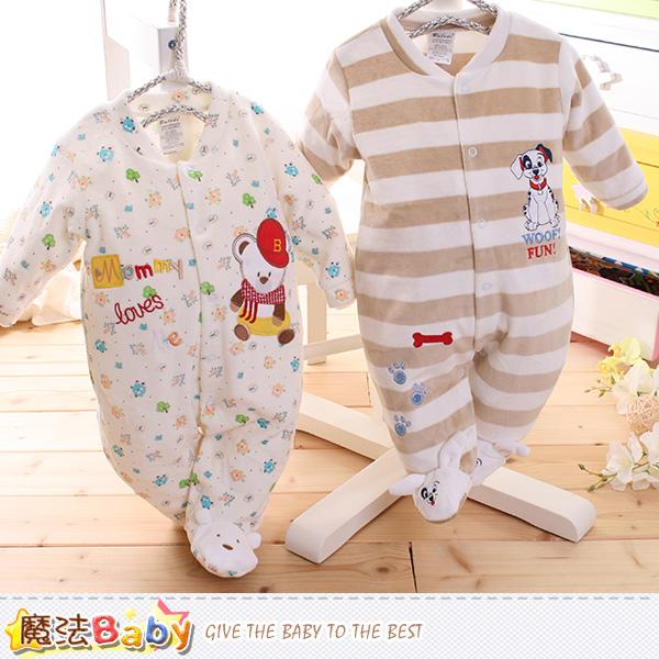 魔法Baby 包腳連身衣 法國設計細絲絨包屁衣 k60100