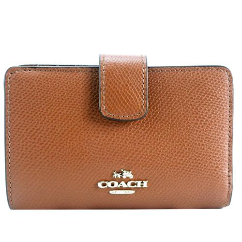 COACH 馬車logo防刮皮革拉鍊袋中夾(咖)