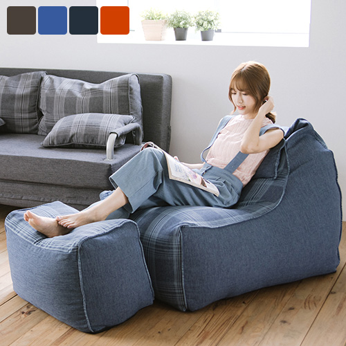 《Peachy life》蘇格蘭格子頭靠懶骨頭+凳超值組/沙發/和室椅(四色可選)