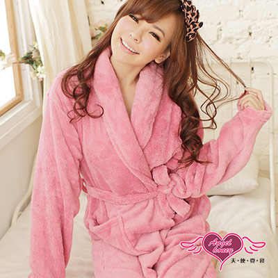 【天使霓裳】甜蜜氛圍 柔軟珊瑚絨綁帶睡袍 浴袍(深粉)