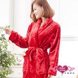 【天使霓裳】暖冬愛戀 柔軟法蘭絨綁帶睡袍(紅F)