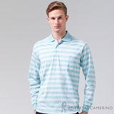 ROBERTA諾貝達 台灣製 純棉 簡約條紋長袖POLO棉衫 藍色