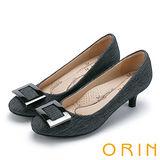 ORIN 典雅輕熟 方型飾釦魅力中跟鞋-黑色