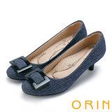 ORIN 典雅輕熟 方型飾釦魅力中跟鞋-藍色