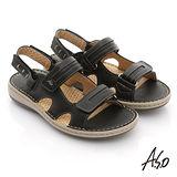 【A.S.O】3D奈米系列 全真皮自黏帶氣墊涼鞋(黑)