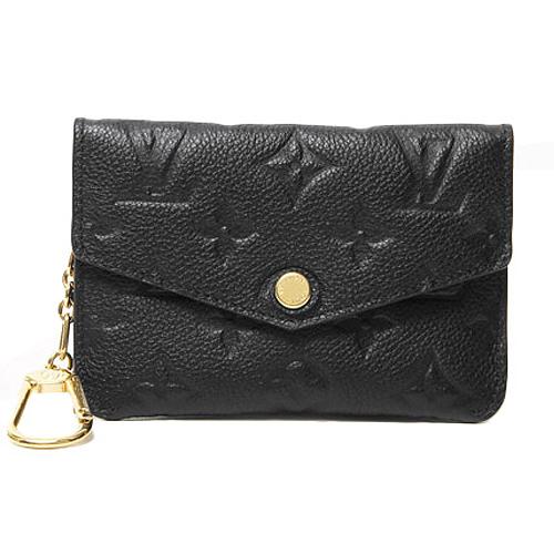 Louis Vuitton LV M60633 經典花紋全皮革壓紋鑰匙零錢包.黑_預購