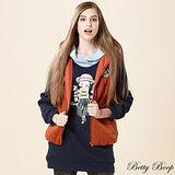 【Betty Boop貝蒂】徽章針織鋪棉連帽背心(共二色)