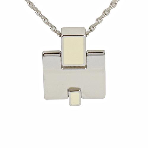 HERMES 時尚配件經典H LOGO銀飾項鍊.銀/白