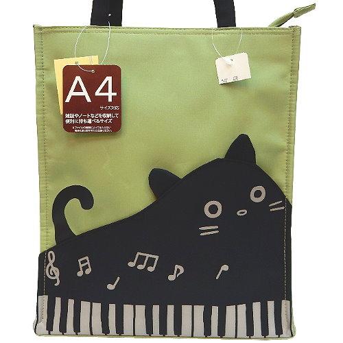 【波克貓哈日網】日系流行A4手提包◇鋼琴貓咪◇《芥末綠色》