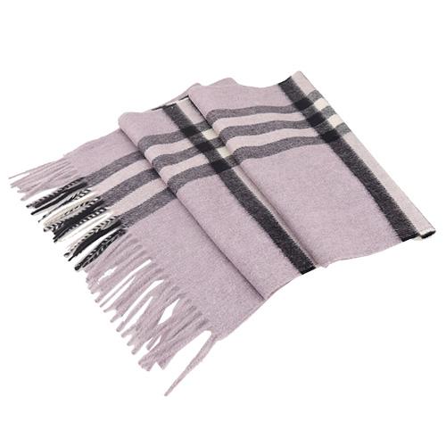 BURBERRY 經典格紋100%喀什米爾羊毛圍巾(粉紫)