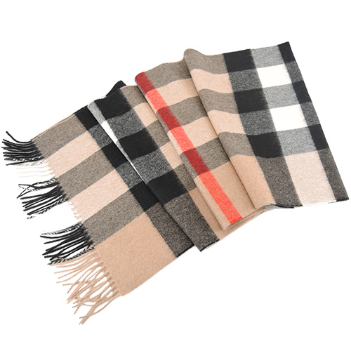 BURBERRY 經典格 紋100% 喀什米爾羊毛寬版圍巾(卡其黑)