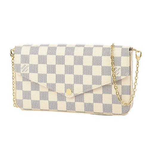 Louis Vuitton LV N63106 Pochette Félicie 白棋盤格紋鍊條斜背小提包_預購