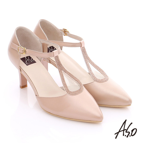 A.S.O 璀璨注目 羊皮拼接網布貼鑽高跟鞋(粉紅)