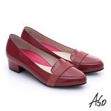 A.S.O 職場女力 全真皮拼接條帶低跟鞋(暗紅)