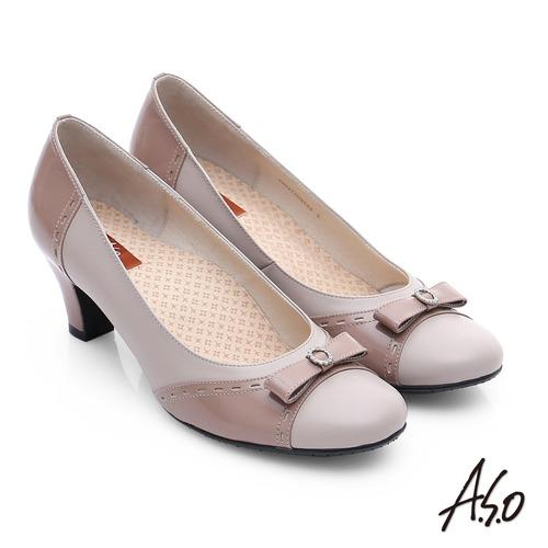 A.S.O 3E舒活寬楦 牛皮立體蝴蝶結低跟鞋(卡其)