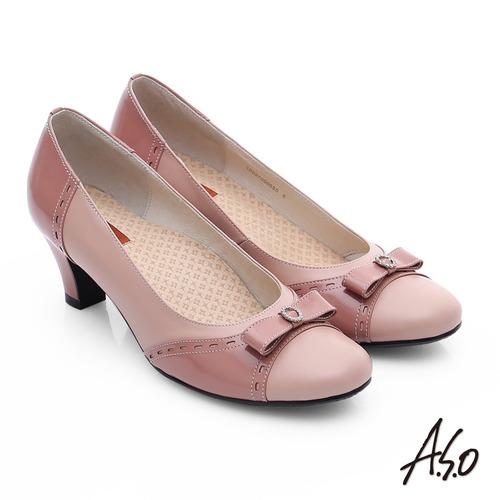 A.S.O 3E舒活寬楦 牛皮立體蝴蝶結低跟鞋(粉橘)