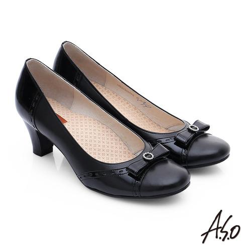 A.S.O 3E舒活寬楦 牛皮立體蝴蝶結低跟鞋(黑)