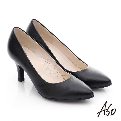 A.S.O 優雅美型 全真皮素色窩心高跟鞋(黑)