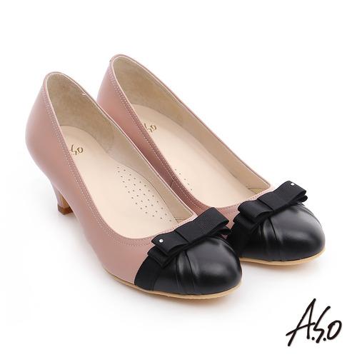 A.S.O 優雅美型 真皮織帶蝴蝶結高跟鞋(粉紅)