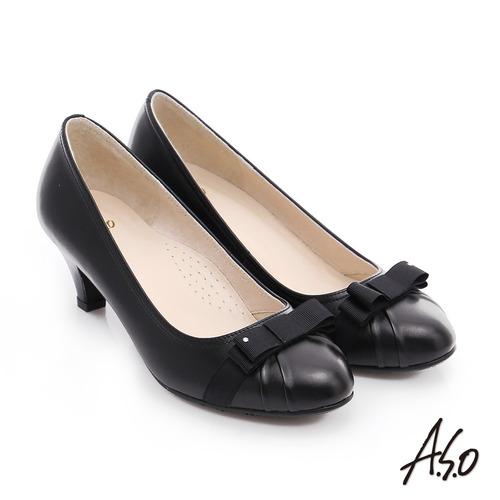 A.S.O 優雅美型 真皮織帶蝴蝶結高跟鞋(黑)