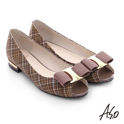 A.S.O 注目嬌點 格紋金屬織帶魚口跟鞋(深卡其)