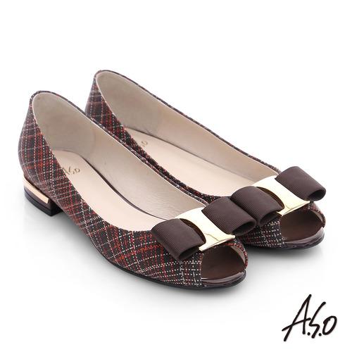 A.S.O 注目嬌點 格紋金屬織帶魚口跟鞋(咖啡)