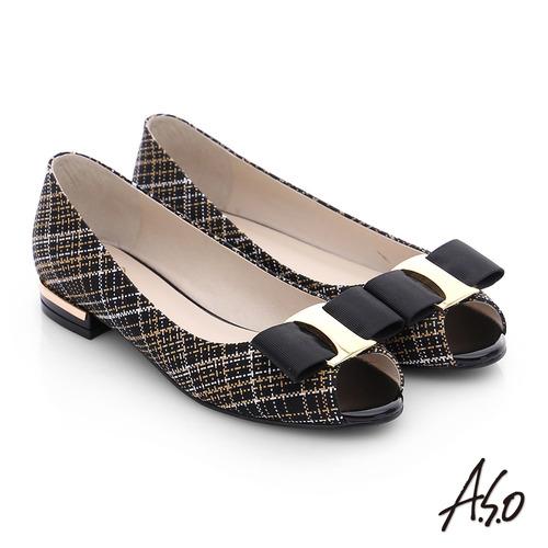 A.S.O 注目嬌點 格紋金屬織帶魚口跟鞋(黑)