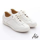 A.S.O 輕量抗震 珠光真皮綁帶奈米休閒鞋(白)