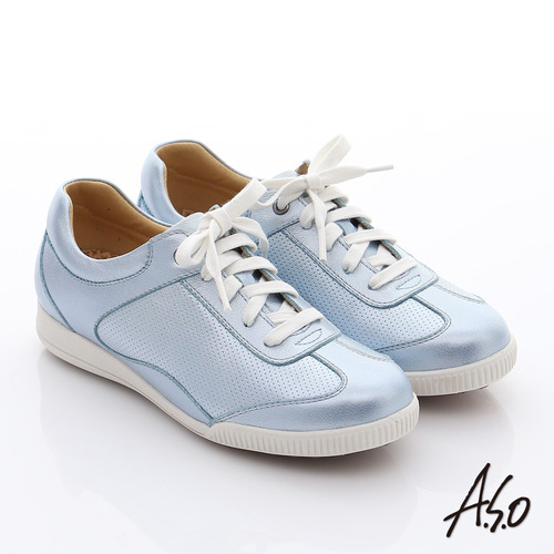 A.S.O 輕量抗震 珠光真皮綁帶奈米休閒鞋( 淺藍)