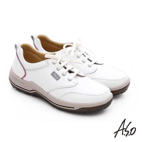 A.S.O 3A全掌 真皮綁帶氣囊寬楦休閒鞋(白)