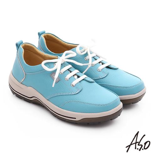 A.S.O 3A全掌 真皮綁帶氣囊寬楦休閒鞋( 淺藍)