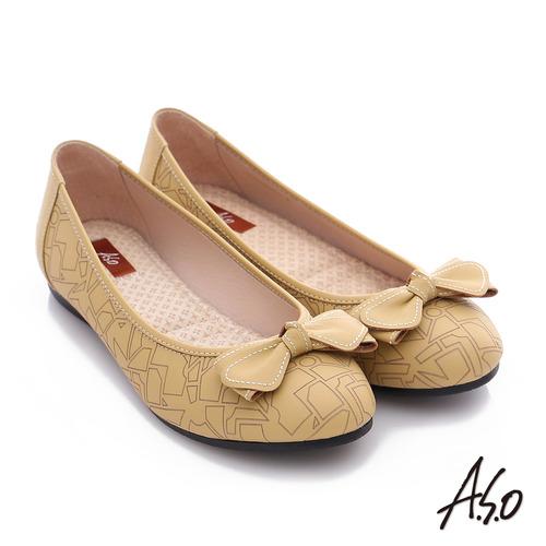 A.S.O 樂福氣墊鞋 全真皮蝴蝶結奈米氣墊鞋(黃)
