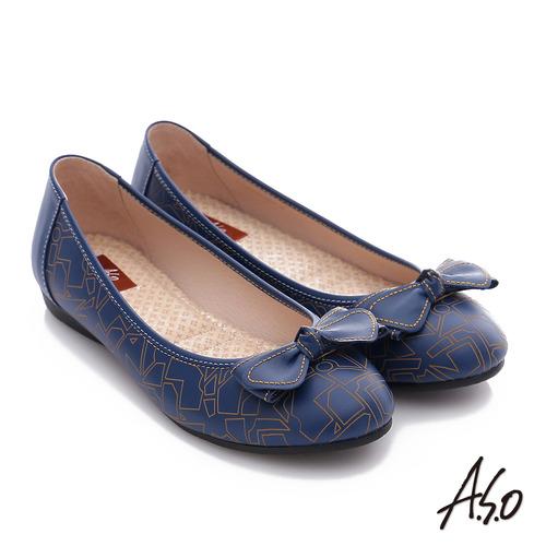 A.S.O 樂福氣墊鞋 全真皮蝴蝶結奈米氣墊鞋(藍)
