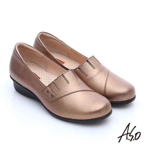 A.S.O 活力勁步 珠光牛皮奈米氣墊鞋(古銅)