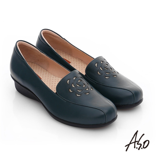 A.S.O 活力勁步 真皮鏤空花瓣奈米氣墊鞋(綠)