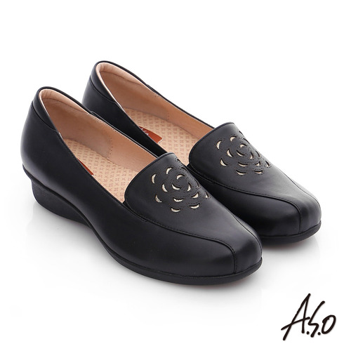 A.S.O 活力勁步 真皮鏤空花瓣奈米氣墊鞋(黑)