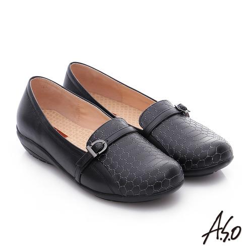 A.S.O 舒適樂活 全真皮六邊形車線奈米休閒鞋(黑)
