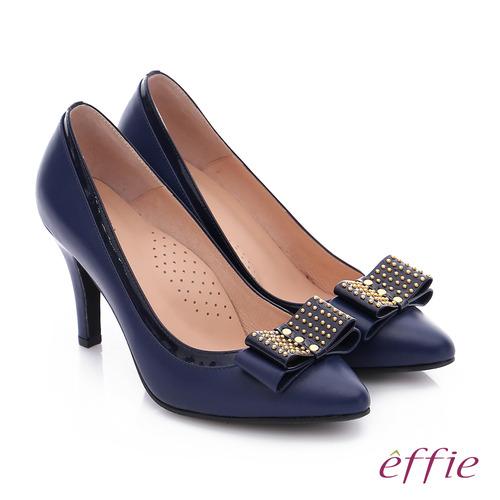 effie 耀眼女伶 真皮併接金屬鉚釘蝴蝶結高跟鞋 (藍)