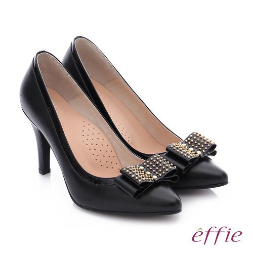 effie 耀眼女伶 真皮併接金屬鉚釘蝴蝶結高跟鞋 (黑)