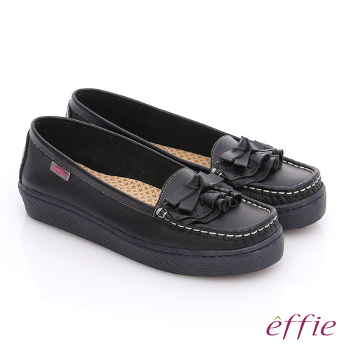 effie 縫線包仔鞋 真皮手工縫線花褶奈米平底鞋(黑)