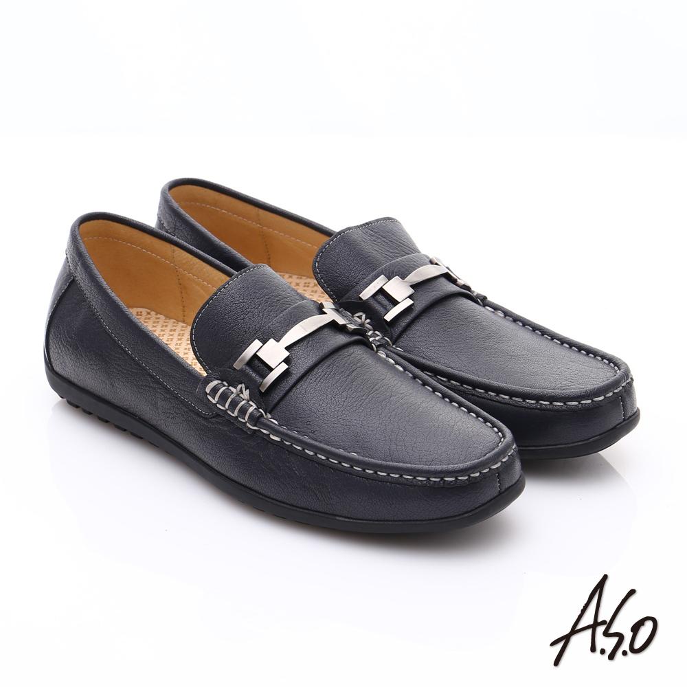 【A.S.O】輕量抗震 真皮經典飾釦奈米樂福鞋(深藍)