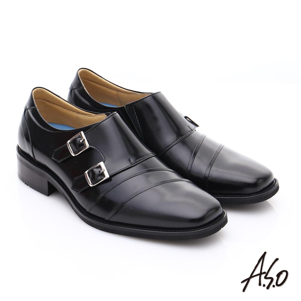 【A.S.O】菁英通勤 雙飾扣鏡面牛皮奈米皮鞋(黑)