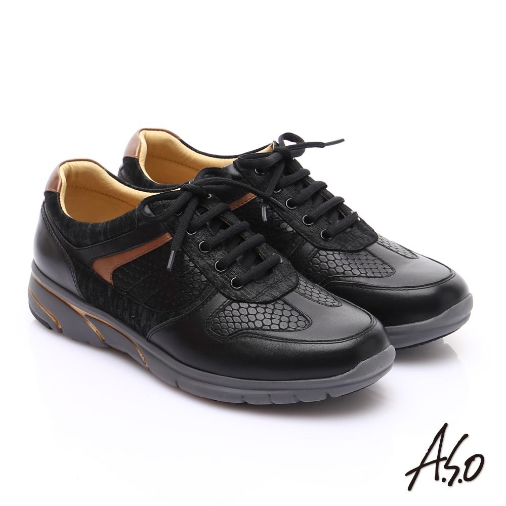 【A.S.O】紓壓耐走 牛皮拼接獨立筒奈米休閒鞋(黑)