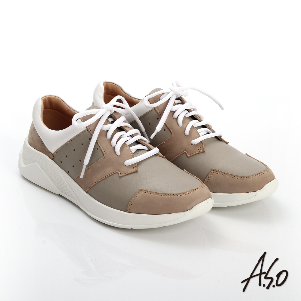 【A.S.O】輕量抗震 磨砂真皮綁帶奈米休閒鞋(卡其)